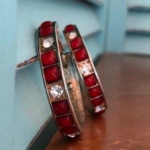 Vintage Red Settings Gold Tone Hoop Earrings